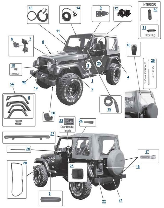 jeep wrangler tj body parts