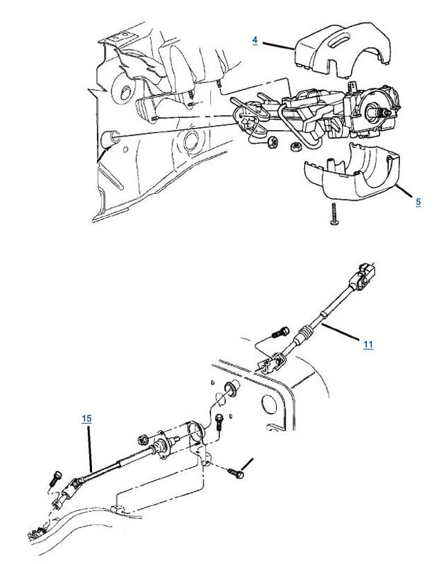 Jeep Tj Wrangler Steering Column Parts Oem Diagram