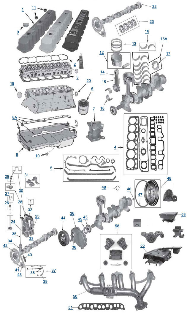 jeep yj wrangler 4 0l 6 cylinder engine parts