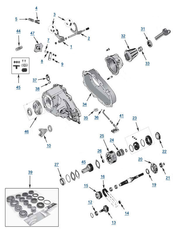 jeep grand cherokee zj np231 transfer case