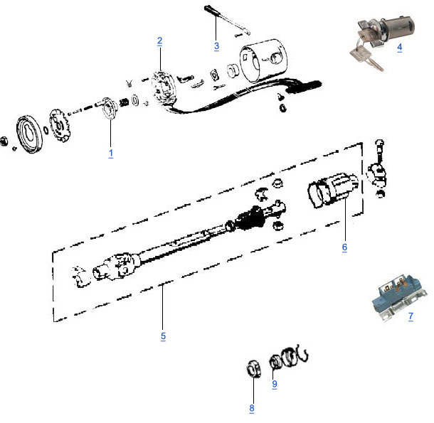 cj steering column parts