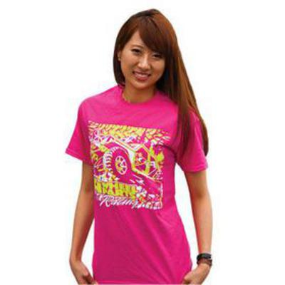 Image of 4 Wheel Parts Racing Safety Shirtz T-Shirt in Pink/Yellow, Large (Pink) - SSYPT-L