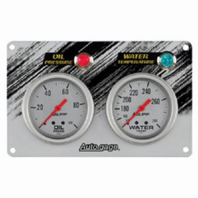 Image of Auto Meter Autogage Mechanical Race Panels Oil Pressure/Water Temperature (Silver) - 7065