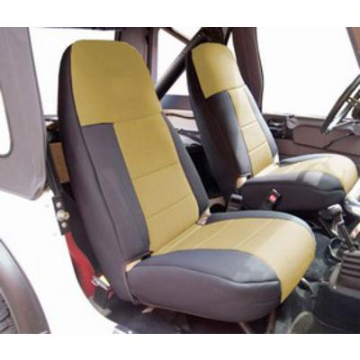 Image of Coverking 50/50 High Back Neoprene Front Seat Covers (Black/Tan) - SPC251
