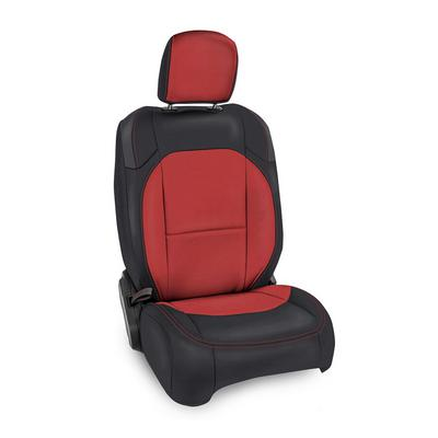 PRP Vinyl Front Seat Covers (Black with Red Stitching) - B037-01