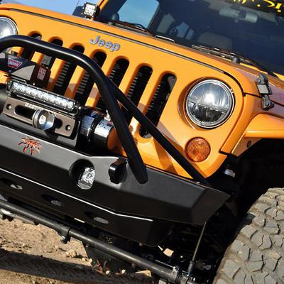 Image of Poison Spyder Brawler Lite Front Midwidth Bumper with Brawler Bar and Tube Gussets (Black) - 17-63-010DBTP1