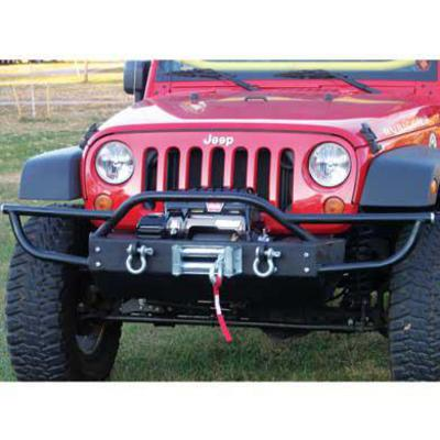Rock Hard 4x4 Parts Shorty Front Bumper with Tube Extensions, Lowered Winch without Fog Lights (Black) - RH-5004