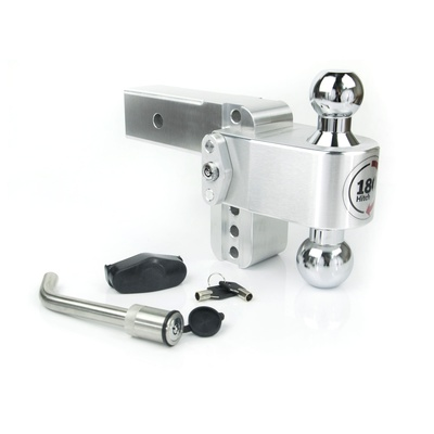Weigh Safe CTB4-2.5-KA Chrome Plated Steel Combo Ball and Key Lock with Matching Receiver Pin 4 Drop 180 Hitch w// 2.5 Shank//Shaft Adjustable Aluminum Trailer Hitch /& Ball Mount