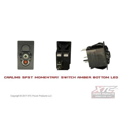 XTC Power Products Carling Contura V SPST Momentary Switch with Amber Bottom LED - SW12-NA000000