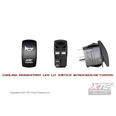 XTC Power Products Carling Switch, XTC Horn Momentary with lower Blue LED - SW12-NB102016